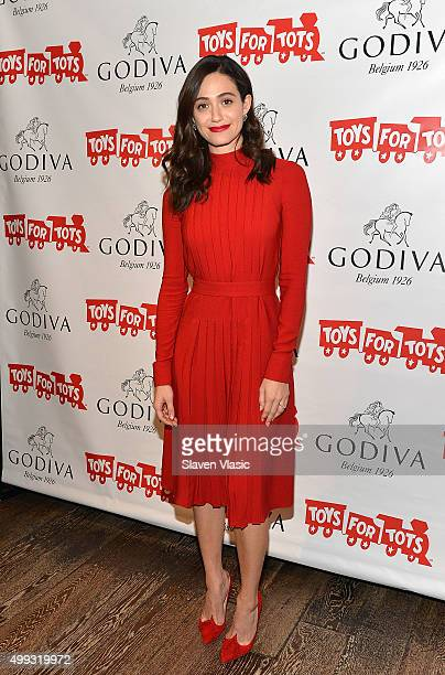 Actress Emmy Rossum hosts 'Hot Chocolate for a Cause' benefit at Godiva on November 30 2015 in New York City