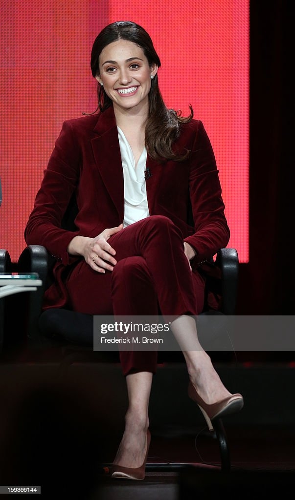 Actress <a gi-track='captionPersonalityLinkClicked' href=/galleries/search?phrase=Emmy+Rossum&family=editorial&specificpeople=202563 ng-click='$event.stopPropagation()'>Emmy Rossum</a> of 'Shameless' speaks onstage during the Showtime portion of the 2013 Winter TCA Tour at Langham Hotel on January 12, 2013 in Pasadena, California.
