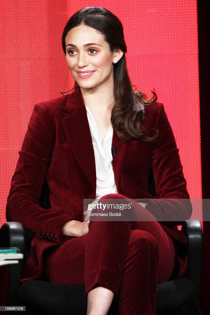 Actress Emmy Rossum of the TV show 'Shameless' attends the 2013 TCA Winter Press Tour CW/CBS panel held at The Langham Huntington Hotel and Spa on January 12, 2013 in Pasadena, California.