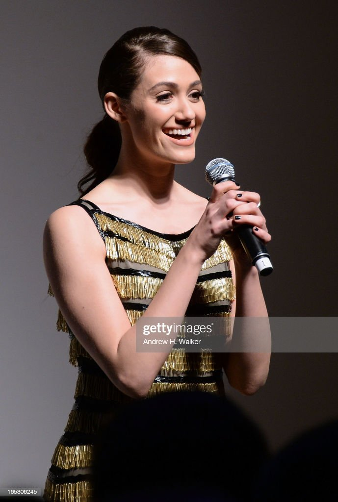 Actress Emmy Rossum speaks at the Jeffrey Fashion Cares 10th Anniversary Celebration at The Intrepid on April 2, 2013 in New York City.