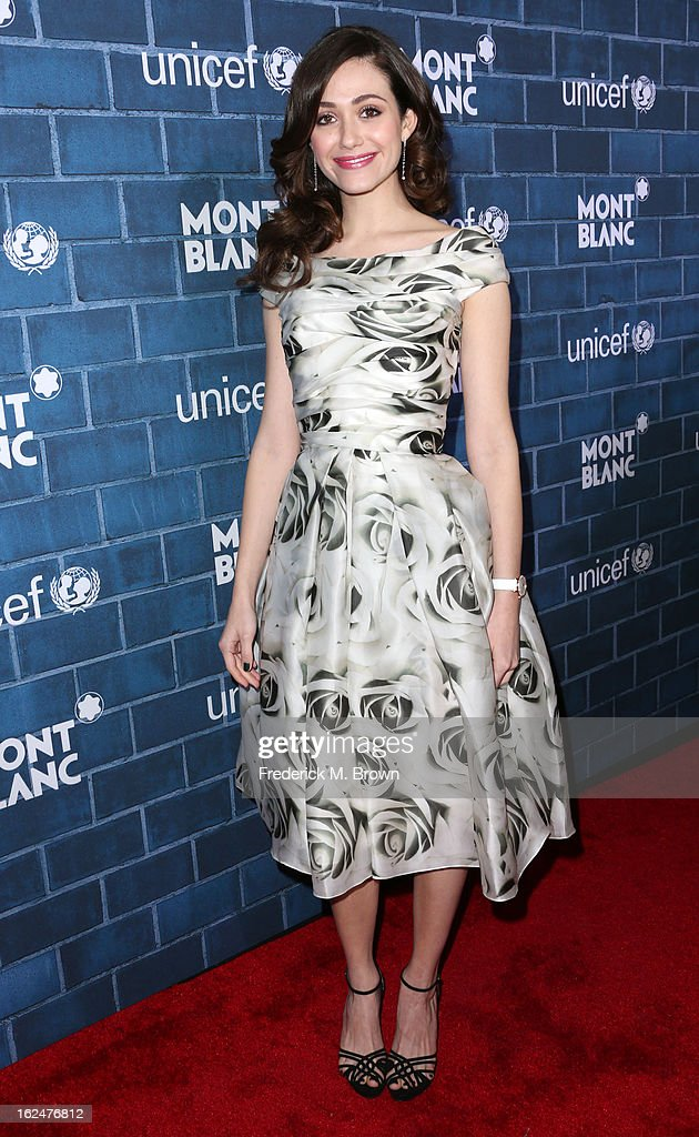 Actress <a gi-track='captionPersonalityLinkClicked' href=/galleries/search?phrase=Emmy+Rossum&family=editorial&specificpeople=202563 ng-click='$event.stopPropagation()'>Emmy Rossum</a> wearing Montblanc Star Classique Lady Automatic and Montblanc Princesse Grace de Monaco Collectionattends the Montblanc And UNICEF Host Pre-Oscar Brunch Celebrating Their Limited Edition Collection at the Hotel Bel-Air on February 23, 2013 in Los Angeles, California.