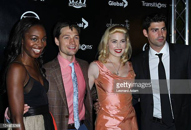 Actress Enuka Okuma actor Gregory Smith Charlotte Sullivan and guest attends ET Canada's Red Carpet Event at Spice Route during the 2011 Toronto...