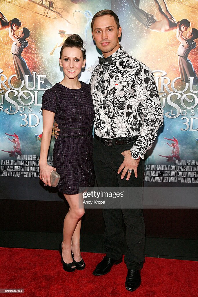 Actress Erica Linz and actor Igor Zaripov attend 'Cirque Du Soleil: Worlds Away' New York Special Screening at Regal E-Walk on December 20, 2012 in New York City.