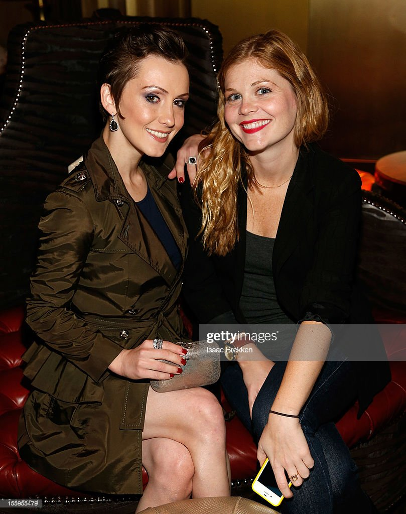 Actress Erica Linz (L) and Rachel Sussman from Paramount Pictures attend the reception for the Las Vegas premiere of 'Zarkana by Cirque du Soleil' at the Gold Boutique Nightclub and Lounge at the Aria Resort & Casino at CityCenter on November 9, 2012 in Las Vegas, Nevada.