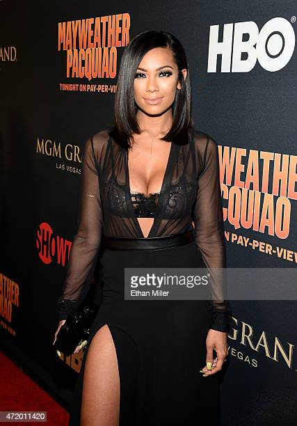 Actress Erica Mena attends the SHOWTIME And HBO VIP PreFight Party for 'Mayweather VS Pacquiao' at MGM Grand Hotel Casino on May 2 2015 in Las Vegas...