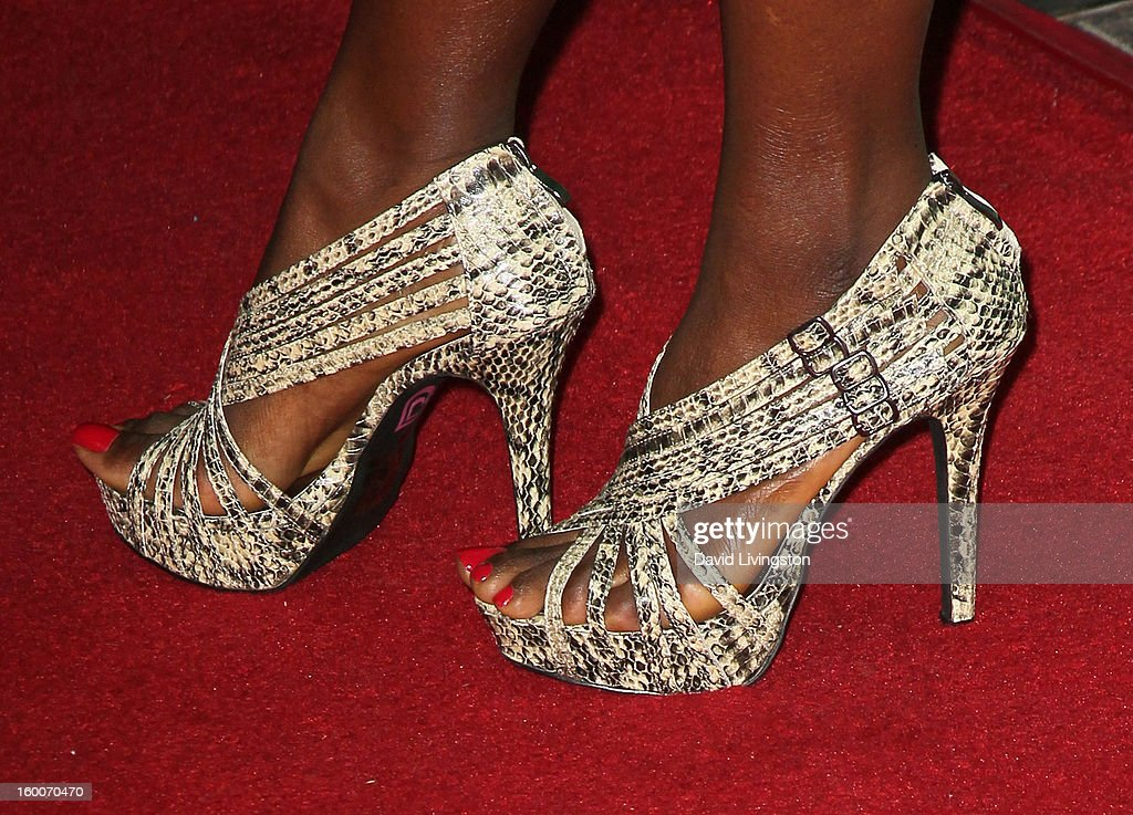 Actress Erica Tazel (shoe detail) attends the premiere of FX's 'Justified' Season 4 at the Paramount Theater on the Paramount Studios lot on January 5, 2013 in Hollywood, California.
