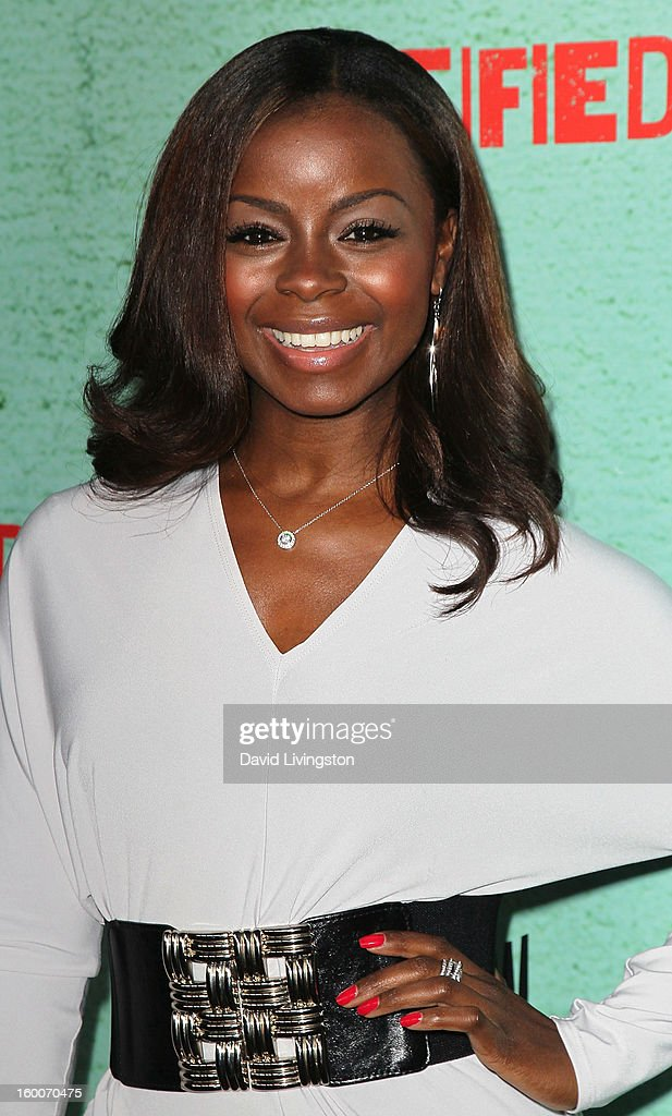 Actress Erica Tazel attends the premiere of FX's 'Justified' Season 4 at the Paramount Theater on the Paramount Studios lot on January 5, 2013 in Hollywood, California.