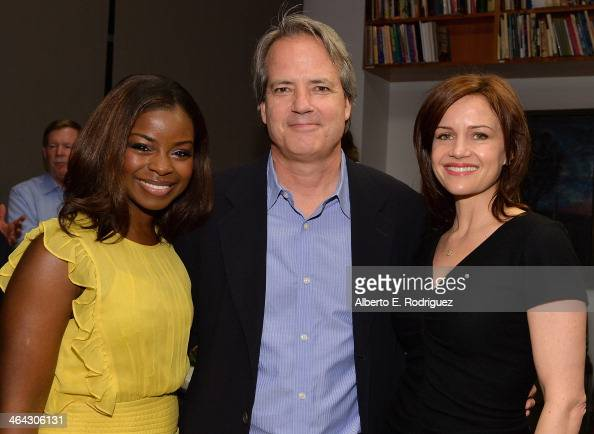 Actress Erica Tazel executive producer Graham Yost and actress Carla Gugino attend the Writers Bloc Presents A Tribute to Elmore Leonard on January...