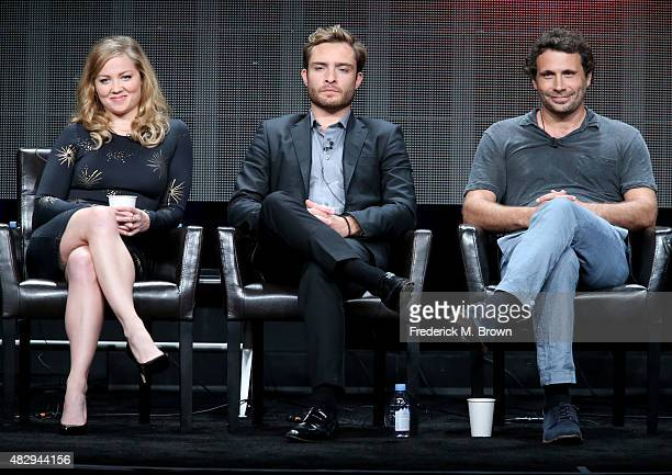 Actress Erika Christensen and actors Ed Westwick and Jeremy Sisto speak onstage during the 'Wicked City' panel discussion at the ABC Entertainment...