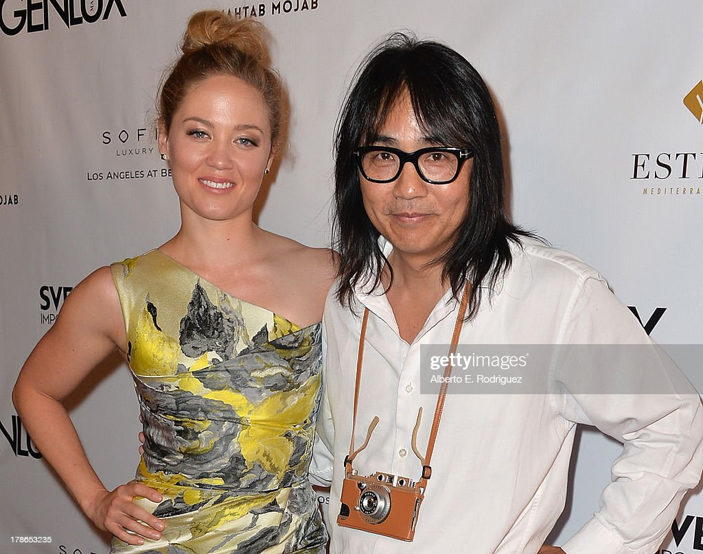 Actress Erika Christensen and Genlux creative director Stephen Kamifuji arrive to Genlux Magazine's Issue Release party featuring Erika Christensen at The Sofitel Hotel on August 29, 2013 in Los Angeles, California.