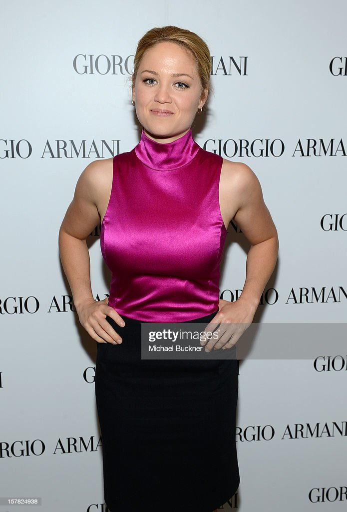 Actress Erika Christensen, wearing Emporio Armani attends the Giorgio Armani Beauty Luncheon on December 6, 2012 in Beverly Hills, California.