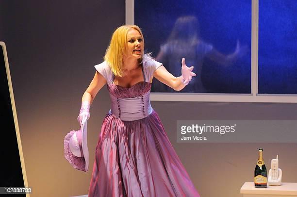 Actress Erika de la Rosa in action during the premiere of the play Cinco mujeres usando el mismo vestido at Telon de Asfalto Theater on July 13 2010...