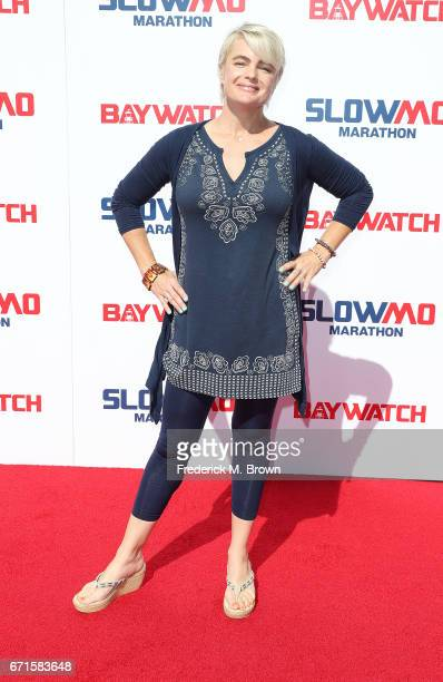 Actress Erika Eleniak attends The 'Baywatch' SlowMo Marathon at the Microsoft Square on April 22 2017 in Los Angeles California