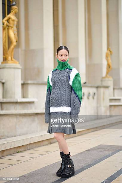 Actress Erika Toda poses wearing Sacai before the Sacai show at the Theatre National de Chaillot during Paris fashion week SS16 on October 5 2015 in...
