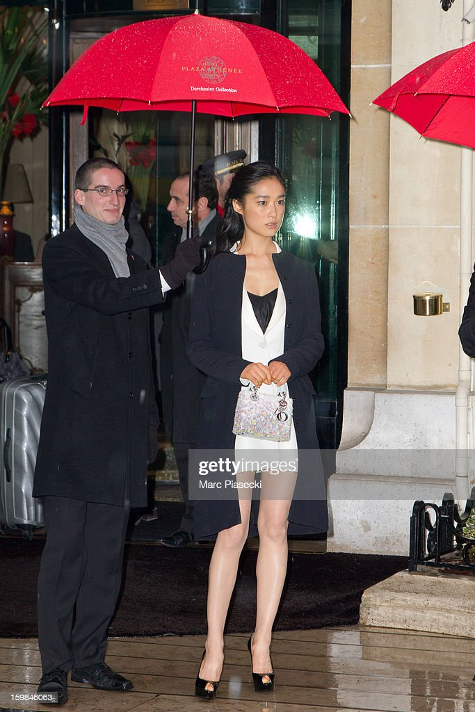 Actress Eriko Hatsune is seen leaving the 'Plaza Athenee' hotel on January 21, 2013 in Paris, France.