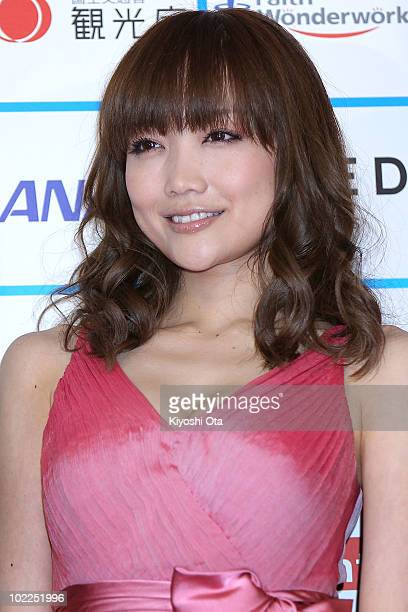 Actress Eriko Sato poses on the red carpet during the Short Shorts Film Festival Asia 2010 Award Ceremony at Jingu Kaikan on June 20 2010 in Tokyo...