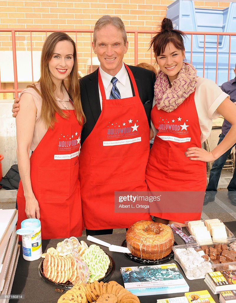 Actress Erin Carufel, actor James Horan and actress Stephanie Danielson participate in the Hollywood Chamber of Commerce's annual police and firefighters appreciation day at the Hollywood LAPD station on November 28, 2012 in Hollywood, California.