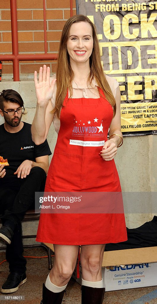Actress Erin Carufel participates in the Hollywood Chamber of Commerce's annual police and firefighters appreciation day at the Hollywood LAPD station on November 28, 2012 in Hollywood, California.