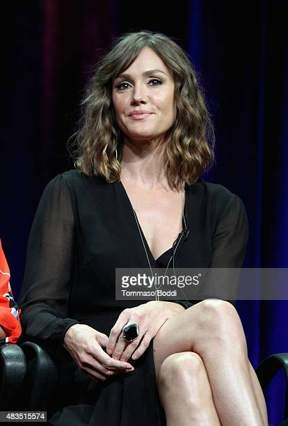 Actress Erinn Hayes speaks onstage during 'The Hotwives of Las Vegas' panel at the Hulu 2015 Summer TCA Presentation at The Beverly Hilton Hotel on...