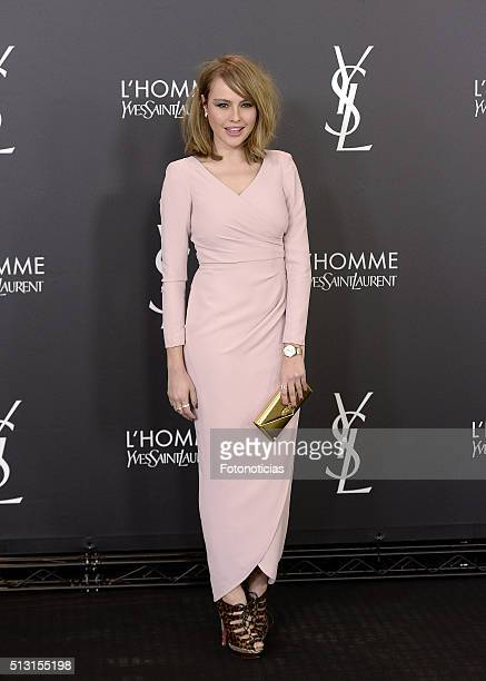 Actress Esmeralda Moya attends the Yves Saint Laurent Beauty cocktail party at the Espacio Molteni Co on February 29 2016 in Madrid Spain