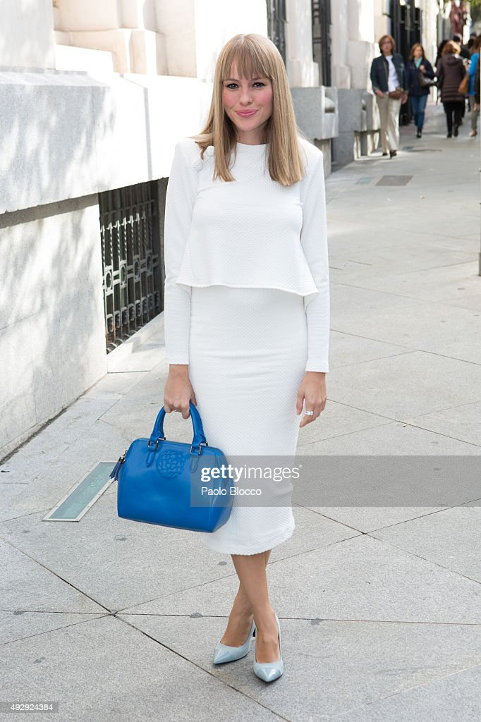 Actress Esmeralda Moya is seen arriving to 'Petit Fashion Week' event at 'Palacio de Cristal' on October 16, 2015 in Madrid, Spain.