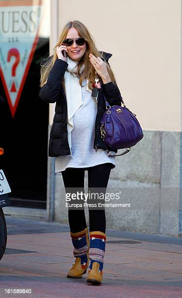 Actress Esmeralda Moya several months pregnant is seen on February 4 2013 in Madrid Spain