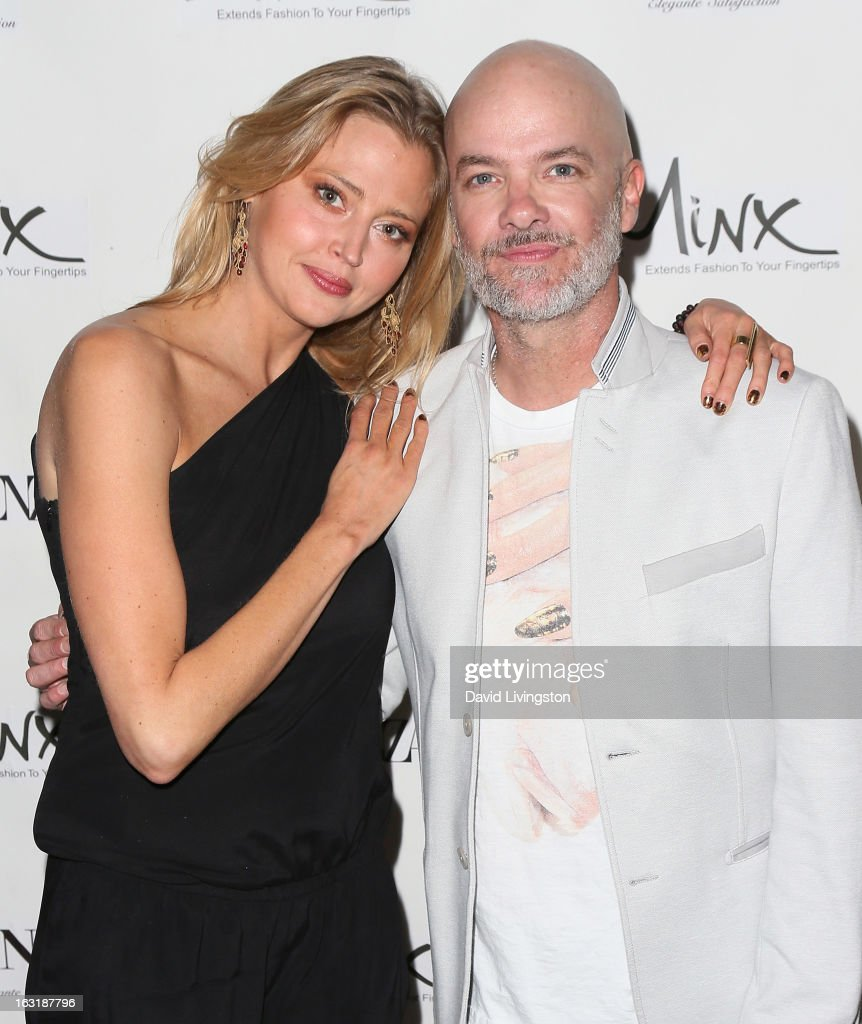 Actress <a gi-track='captionPersonalityLinkClicked' href=/galleries/search?phrase=Estella+Warren&family=editorial&specificpeople=214695 ng-click='$event.stopPropagation()'>Estella Warren</a> (L) and makeup artist Donald Simrock attend the launch event for Minx's newest nail line at esNail on March 5, 2013 in Los Angeles, California.