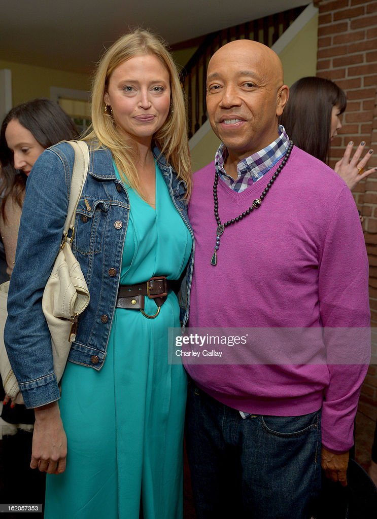"Actress Estella Warren and Russell Simmons attend Vanity Fair and Juicy Couture's Celebration of the 2013 ""Vanities"" Calendar hosted by Vanity Fair West Coast Editor Krista Smith and actress Olivia Munn in support of the Regional Food Bank of Oklahoma, a member of Feeding America, at the Chateau Marmont on February 18, 2013 in Los Angeles, California."