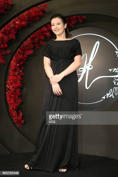 Actress Esther Liu arrives at the red carpet of the banquet held by Macau businessman Levo Chan and actress Ady An on June 23 2017 in Taipei Taiwan...