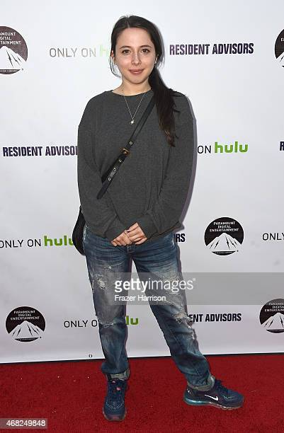 Actress Esther Povitsky arrives at the Premiere Of Paramount and Hulu's 'Resident Advisors' at Sherry Lansing Theatre at Paramount Studios on March...