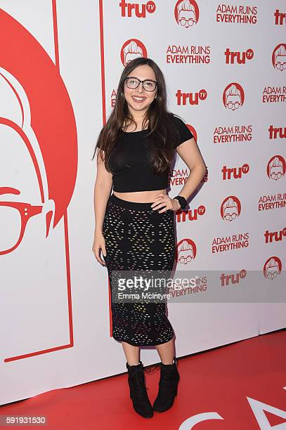 Actress Esther Povitsky arrives at the screening and reception for truTV's 'Adam Ruins Everything' at The Library at The Redbury on August 18 2016 in...