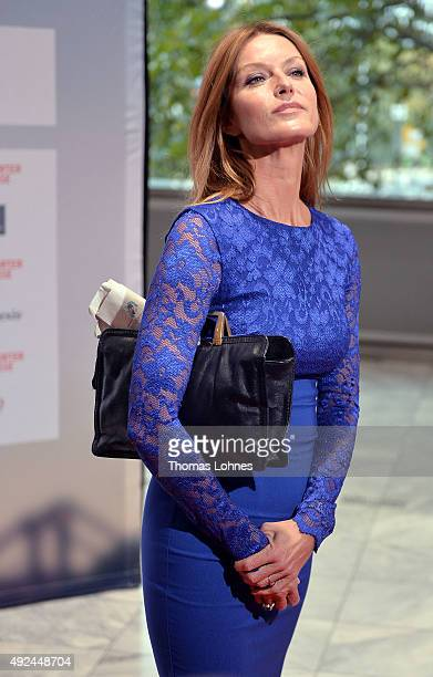 Actress Esther Schweins poses at the red carpet before the opening ceremony of the 2015 Frankfurt Book Fair on October 13 2015 in Frankfurt am Main...