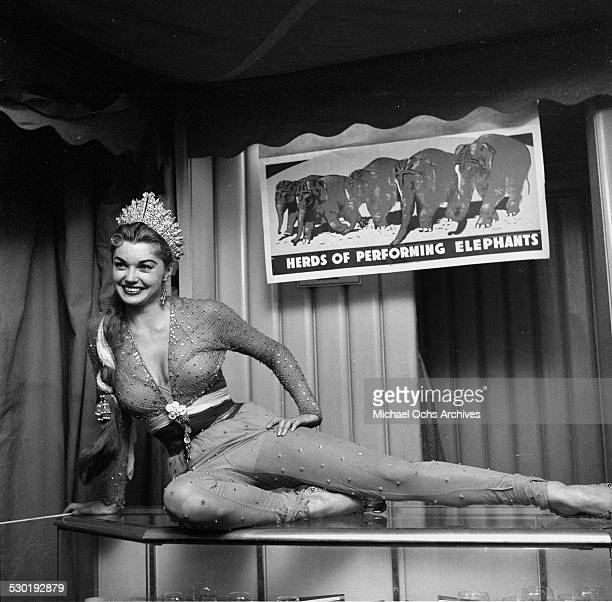 Actress Esther Williams poses as she attends Sonja Henie's Circus Party in Los AngelesCA