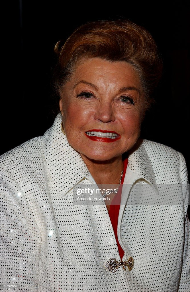 Actress <a gi-track='captionPersonalityLinkClicked' href=/galleries/search?phrase=Esther+Williams&family=editorial&specificpeople=123838 ng-click='$event.stopPropagation()'>Esther Williams</a> poses at Tony Martin's 90th birthday party at The Friars Club on December 7, 2003 in Beverly Hills, California.