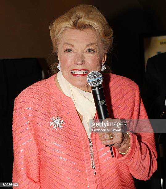 Actress Esther Williams speaks during the 87th annual installation and awards luncheon for the Hollywood Chamber of Commerce at the Hollywood...
