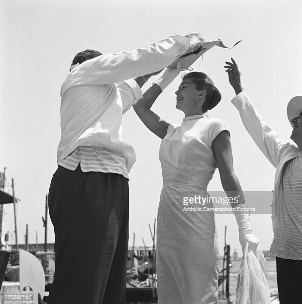 Actress Esther Williams with a gondolier in Venice Italy September 1957