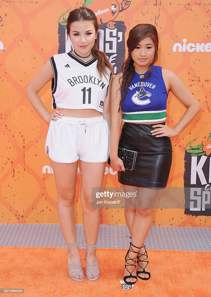 Actress Esther Zynn and actress Celina Martin arrive at Nickelodeon Kids' Choice Sports Awards 2016 at UCLA's Pauley Pavilion on July 14 2016 in...