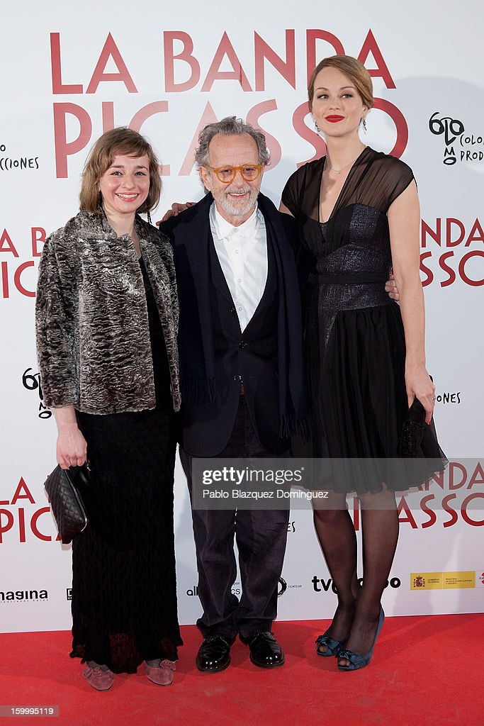 Actress Eszter Tompa, Director <a gi-track='captionPersonalityLinkClicked' href=/galleries/search?phrase=Fernando+Colomo&family=editorial&specificpeople=5314994 ng-click='$event.stopPropagation()'>Fernando Colomo</a> and actress Raphaelle Agogue attends 'La Banda Picasso' Premiere at Capitol Cinema on January 24, 2013 in Madrid, Spain.