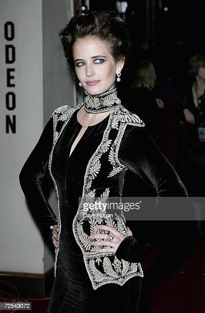 Actress Eva Green attends the Royal Film Performance 2006 and World Premiere of the 21st James Bond movie 'Casino Royale' at the Odeon Leicester...