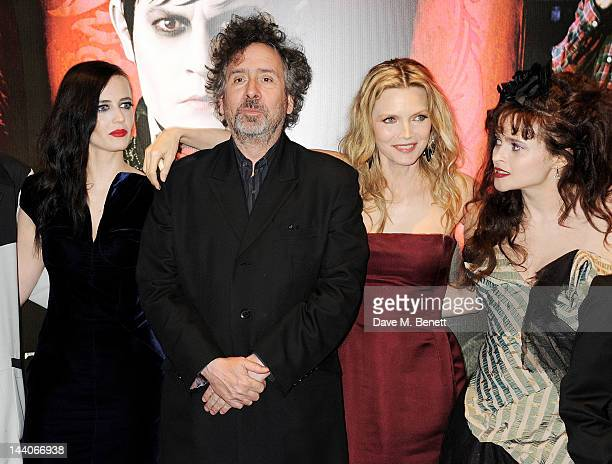 Actress Eva Green director Tim Burton and actors Michelle Pfeiffer and Helena Bonham Carter attend the European Premiere of 'Dark Shadows' at Empire...