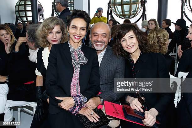 Actress Eva Ionesco Ambassador of the house Schiaparelli Farida Khelfa Stylist Christian Louboutin and Actress Valerie Lemercier attend the...