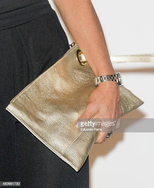 Actress Eva Isanta bag detail attends 'Dinh Van' 50th Anniversary party at French Consulate on October 14 2015 in Madrid Spain