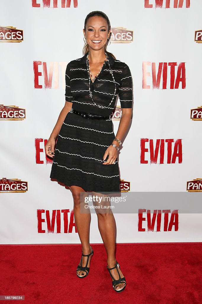 Actress Eva La Rue arrives at the opening night red carpet for 'Evita' at the Pantages Theatre on October 24, 2013 in Hollywood, California.