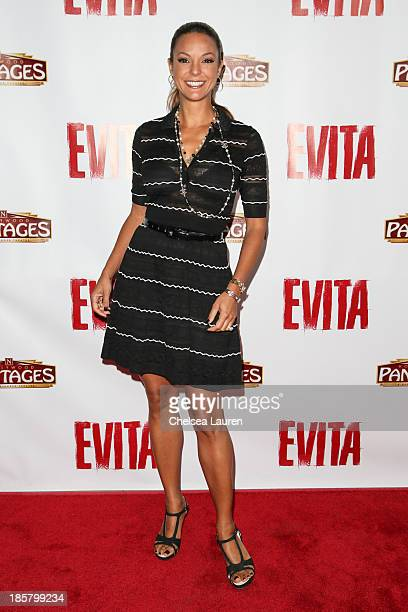 Actress Eva La Rue arrives at the opening night red carpet for 'Evita' at the Pantages Theatre on October 24 2013 in Hollywood California
