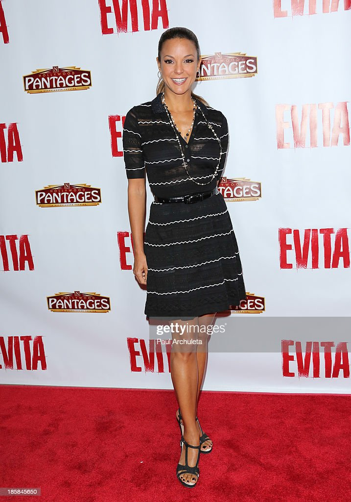 Actress <a gi-track='captionPersonalityLinkClicked' href=/galleries/search?phrase=Eva+LaRue&family=editorial&specificpeople=226694 ng-click='$event.stopPropagation()'>Eva LaRue</a> attends the opening night of 'Evita' at the Pantages Theatre on October 24, 2013 in Hollywood, California.