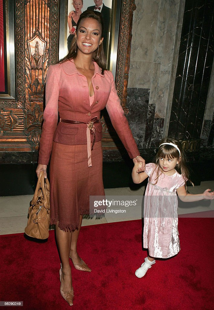 Actress Eva LaRue Callahan and her daughter Kaya pose prior to the opening night performance of Irving Berlin's 'White Christmas' at the Pantages Theatre on November 28, 2005 in Hollywood, California.