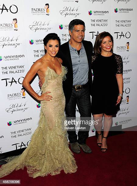 Actress Eva Longoria actor Esai Morales and actress Justina Machado arrive for the 'Padres Contra El Cancer's 14 Annual Celebration' at The Venetian...