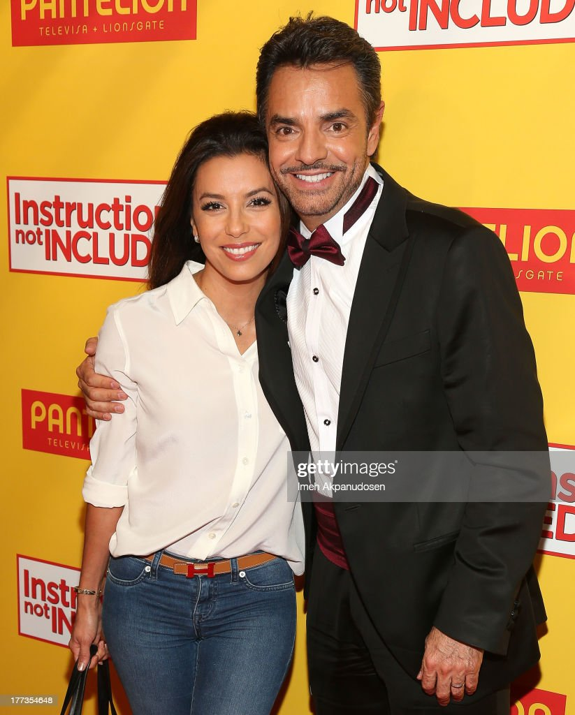 Actress <a gi-track='captionPersonalityLinkClicked' href=/galleries/search?phrase=Eva+Longoria&family=editorial&specificpeople=202082 ng-click='$event.stopPropagation()'>Eva Longoria</a> (L) and actor <a gi-track='captionPersonalityLinkClicked' href=/galleries/search?phrase=Eugenio+Derbez&family=editorial&specificpeople=580445 ng-click='$event.stopPropagation()'>Eugenio Derbez</a> attend the premiere of Pantelion Films' 'Instructions Not Included' at TCL Chinese Theatre on August 22, 2013 in Hollywood, California.