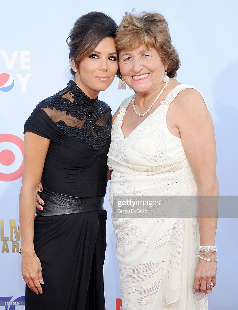 Actress <a gi-track='captionPersonalityLinkClicked' href=/galleries/search?phrase=Eva+Longoria&family=editorial&specificpeople=202082 ng-click='$event.stopPropagation()'>Eva Longoria</a> and mom Ella Eva Mireles arrive at the 2012 NCLR ALMA Awards at Pasadena Civic Auditorium on September 16, 2012 in Pasadena, California.