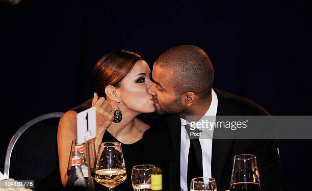 Actress Eva Longoria and NBA player Tony Parker kiss at the Congressional Hispanic Caucus Institute's 33rd Annual Awards Gala at the Washington...